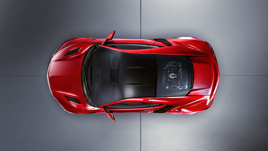 bird's eye view of red NSX